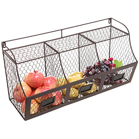 MyGift Large Rustic Brown Metal  Wire Wall Mounted Hanging Fruit Basket Storage Review
