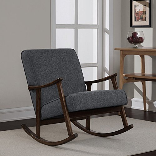 Granite Grey Fabric Retro Wooden Rocker Glider Chair Review