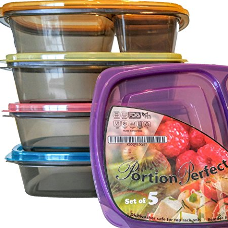 Portion Perfect Meal Prep Containers 3 Compartment Lunch Boxes Review