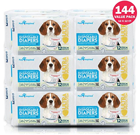 Paw inspired ultra-protection female disposable dog diapers Review