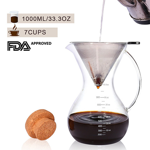 KingTop pour over 1000ml coffee maker set review