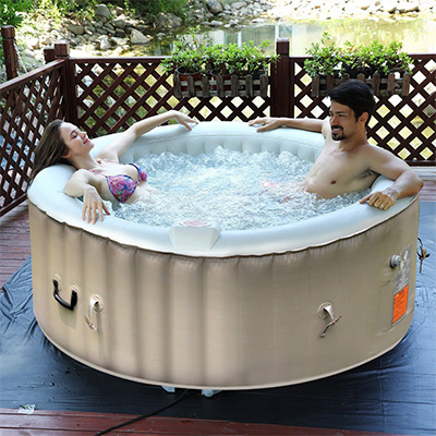 Goplus White Portable Inflatable Hot Tub Review (4-Person)