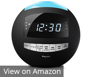 4. Raynic Black 8-in-1 Alarm Clock Radio