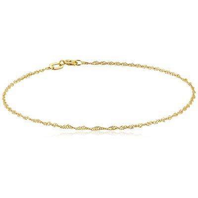 "3. Amazon Collection 14k Yellow Chain Bracelet (7"")"