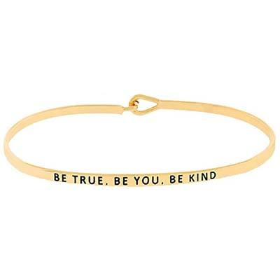 7. GLAM 'BE TRUE, BE YOU, BE KIND' Thin Bangle Bracelet