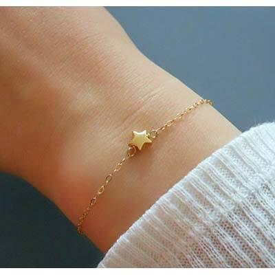 8. annikabella Thin Gold Star Charm Bracelet