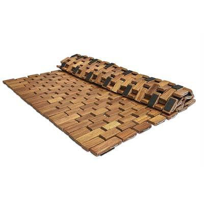 Soothing Styles Folding Teak Shower Mat