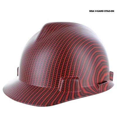 Rugged Blue Custom Hydrographic Red Carbon Fiber Hard Hat II