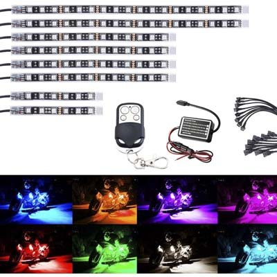AMBOTHER 8Pcs Motorcycle LED Light Kit Strips