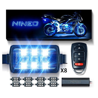 NINEO Pack of 8 Motorcycle RGB LED Strip Lights