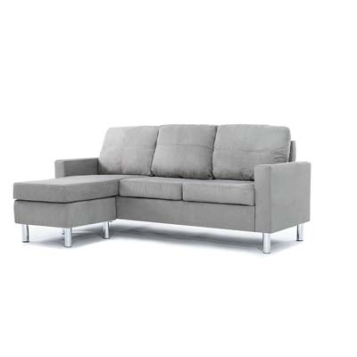 Divano Roma Furniture Modern Microfiber Sectional Sofa (Grey)