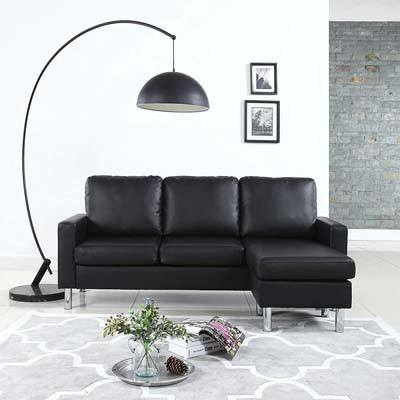 DIVANO ROMA FURNITURE Sectional Sofa, black