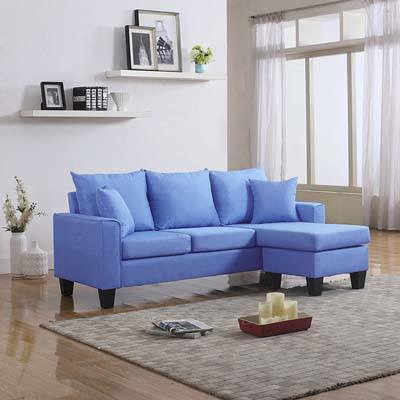 DIVANO ROMA FURNITURE Modern Linen Fabric Sectional Sofa, sky blue