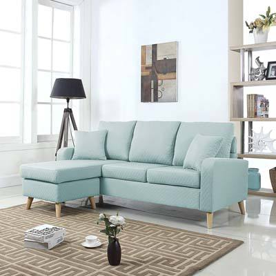 DIVANO ROMA FURNITURE Mid Century Sectional Sofa, light blue