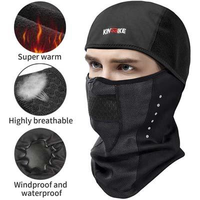 4. KINGBIKE Balaclava Full Face Cover Waterproof Windproof Fleece Masks