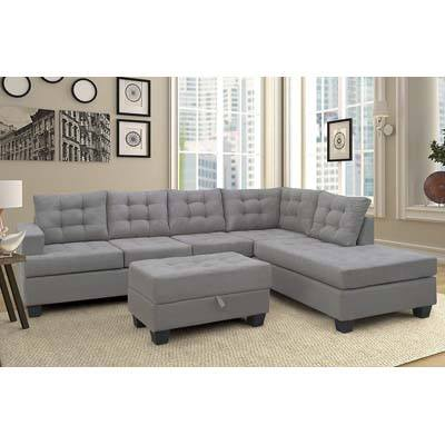 Merax 3-Piece Sectional Sofa with Chaise and Ottoman