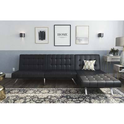 DHP Emily Sectional Futon Sofa, Black Faux Leather