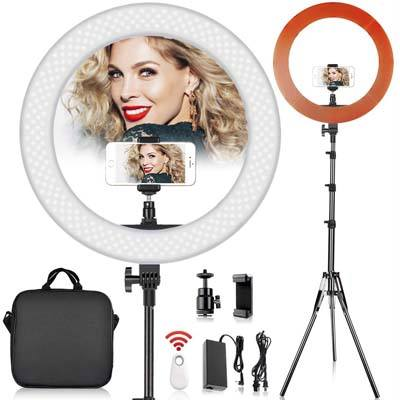 FOSITAN 18 inch LED Ring Light with 2M Stand